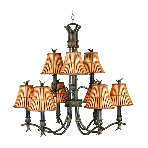 Kenroy Home Lighting Chandelier with Brown Bamboo Shades in Bronze Heritage Finish 90459BH