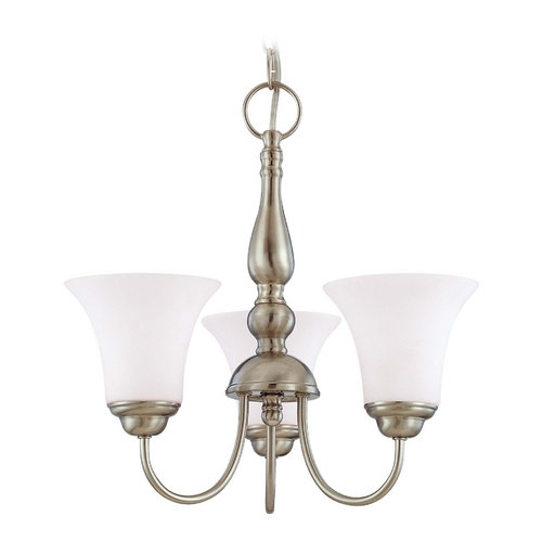 Nuvo Lighting Mini-Chandelier with White Glass in Brushed Nickel Finish 60/1821