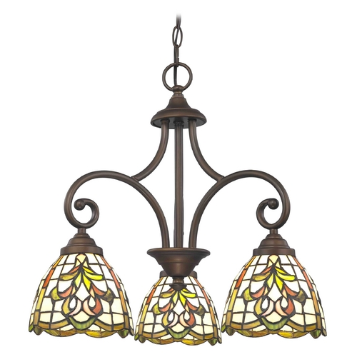 Design Classics Lighting Mini-Chandelier with Multi-Color Glass in Neuvelle Bronze Finish 716-220 GL1045
