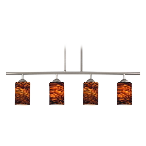 Design Classics Lighting Modern Island Light with Brown Glass in Satin Nickel Finish 718-09 GL1023C