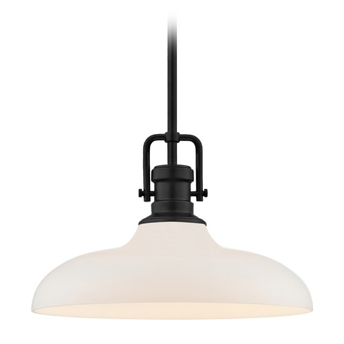 Design Classics Lighting Industrial Pendant Light Black Finish 14-Inch Wide 1763-07 G1784-WH