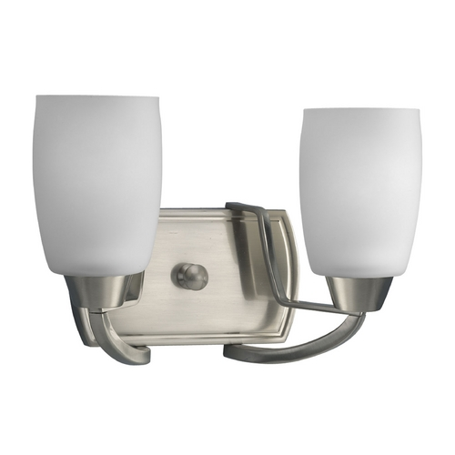 Progress Lighting Progress Bathroom Light with White Glass in Brushed Nickel Finish P2795-09