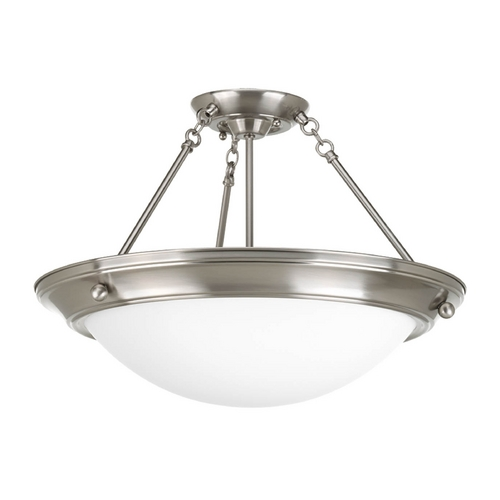 Progress Lighting Semi-Flushmount Light with White Glass in Brushed Nickel Finish P3569-09