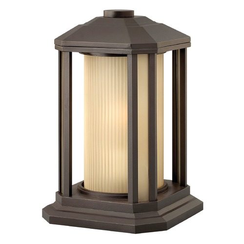 Hinkley Lighting Post Light with Amber Glass in Bronze Finish 1397BZ