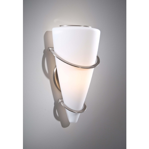 Holtkoetter Lighting Holtkoetter Modern Sconce Wall Light with White Glass in Satin Nickel Finish 2969 SN SW