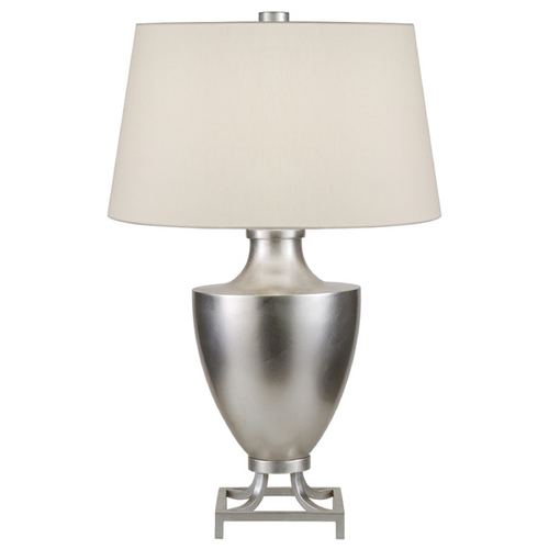 Fine Art Lamps Fine Art Lamps Recollections Platinized Silver Leaf Table Lamp with Drum Shade 828210ST