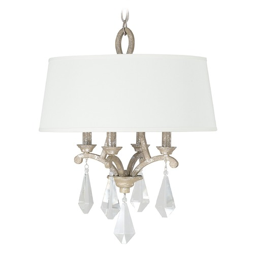 Capital Lighting Capital Lighting Harlow Silver Quartz Pendant Light with Drum Shade 4494SQ-569-CR