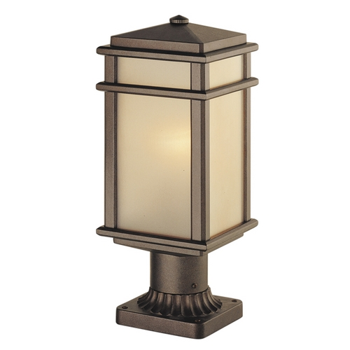 Feiss Lighting Post Light with Amber Glass in Corinthian Bronze Finish OL3408CB