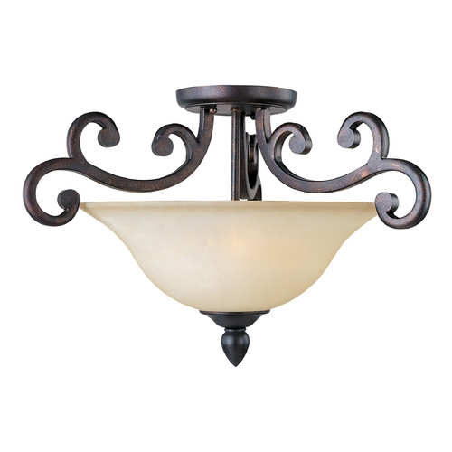Maxim Lighting Semi-Flushmount Light with Beige / Cream Glass in Colonial Umber Finish 31001WSCU