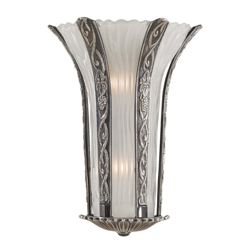 Metropolitan Lighting Sconce Wall Light with White Glass in Platinum Finish N950334-54B