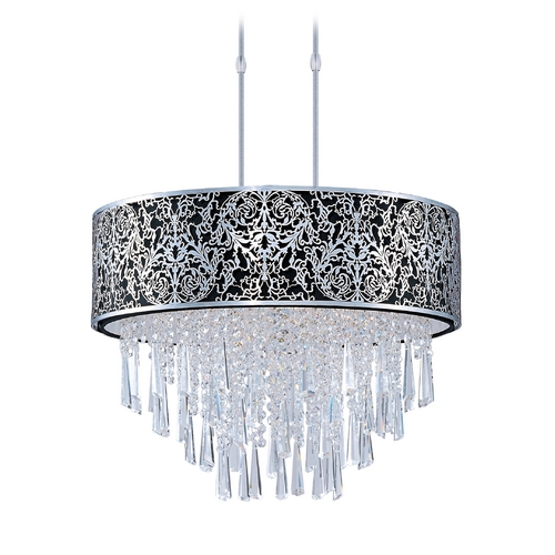 Maxim Lighting Drum Pendant Light with Black Shade in Satin Nickel Finish 22295BKSN