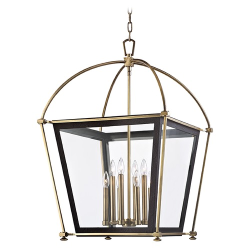 Hudson Valley Lighting Pendant Light with Clear Glass in Aged Brass Finish 3624-AGB
