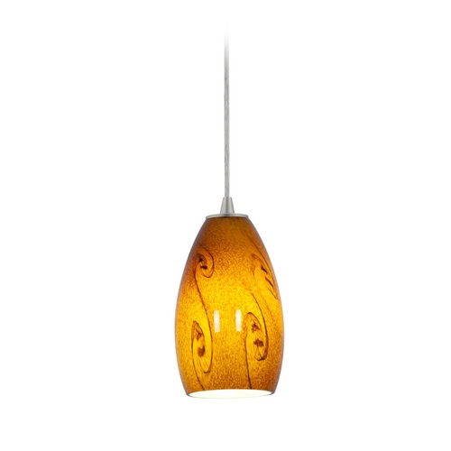 Access Lighting Modern Mini-Pendant Light with Amber Glass 28012-2C-BS/ASKY