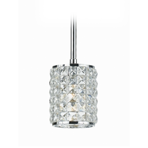Crystorama Lighting Crystal Mini-Pendant Light with Clear Glass 810-CH-CL-MWP