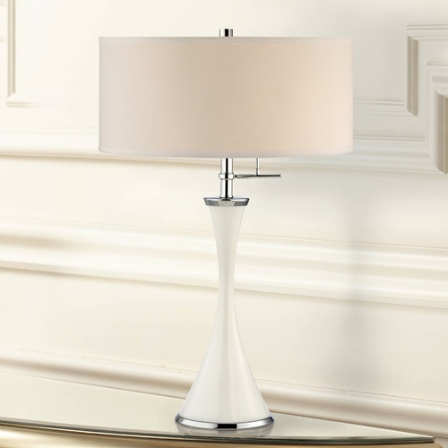 Design Classics Lighting White Tapered Table Lamp with Drum Shade DCL M6775-26/06 / SH7495
