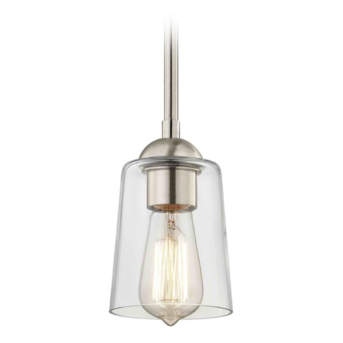 Design Classics Lighting Design Classics Gala Fuse Satin Nickel Mini-Pendant Light with Cylindrical Shade 581-09 GL1027-CLR