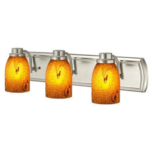 Design Classics Lighting Bathroom Light with 3-Lights in Satin Nickel 1203-09 GL1001D