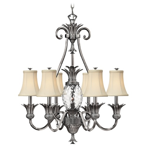 Hinkley 7-Light Tropical Chandelier with Beige/Cream Shade in Polished Antique Nickel 4886PL