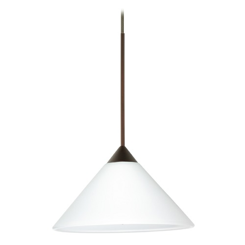 Besa Lighting Besa Lighting Kona Bronze LED Mini-Pendant Light with Conical Shade 1XT-117607-LED-BR