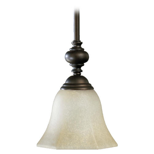 Quorum Lighting Quorum Lighting Marcela Oiled Bronze Mini-Pendant Light with Bell Shade 3331-86