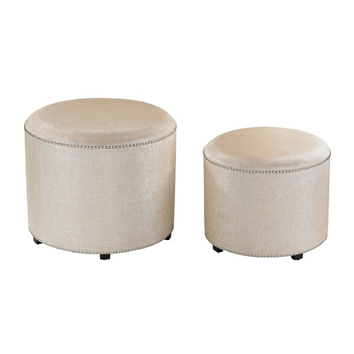 Sterling Lighting Set of 2 Cream Metallic Linen Ottoman 180-006/S2