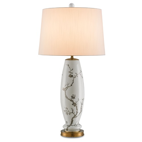 Currey and Company Lighting Currey and Company Primrose White with Silver Floral/antique Brass Table Lamp with Empire Shade 6306