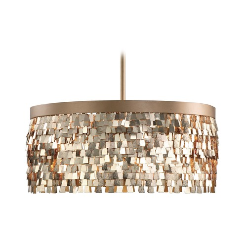 Uttermost Lighting Uttermost Tillie 3 Light Textured Gold Pendant 22064