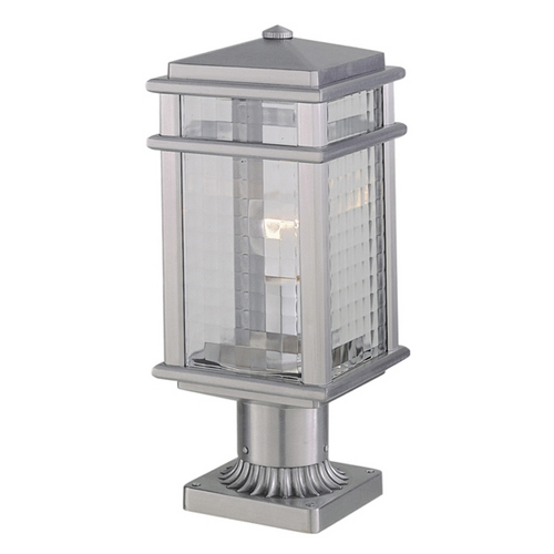 Feiss Lighting Post Light with Clear Glass in Brushed Aluminum Finish OL3408BRAL