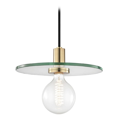 Hudson Valley Lighting Mid-Century Modern Brass Pendant Light Mitzi by Hudson Valley H113701L-AGB