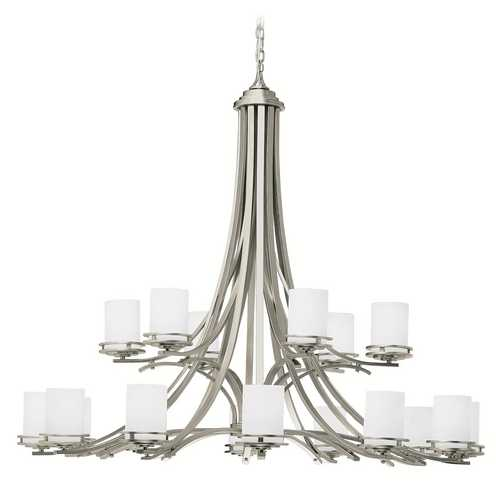 Kichler Lighting Kichler Modern Chandelier with White Glass in Brushed Nickel Finish 1873NI