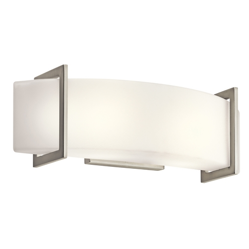 Kichler Lighting Kichler Brushed Nickel Modern Bathroom Light with White Glass 45218NI