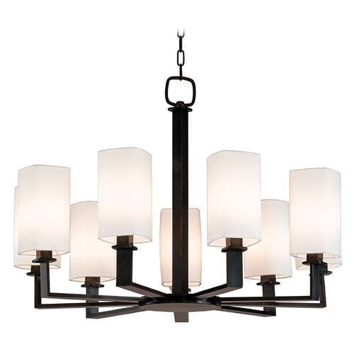 Hudson Valley Lighting Modern Chandelier with White Shades in Old Bronze Finish 729-OB