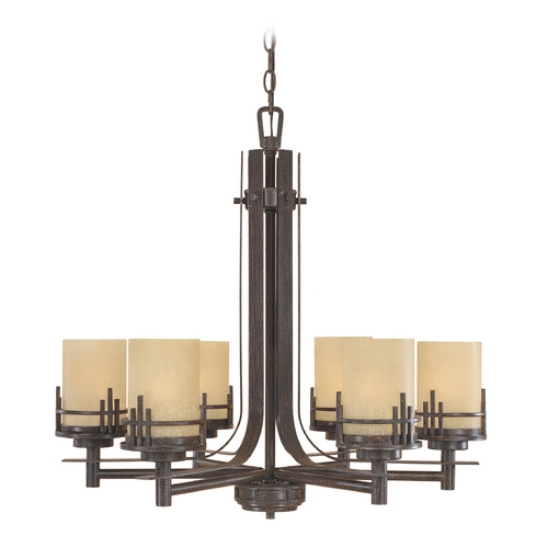 Designers Fountain Lighting Chandelier with Beige / Cream Glass in Warm Mahogany Finish 82186-WM