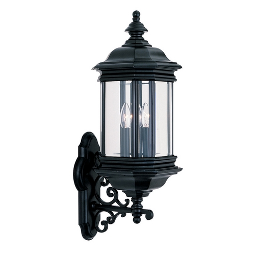Sea Gull Lighting Outdoor Wall Light with Clear Glass in Black Finish 8839-12
