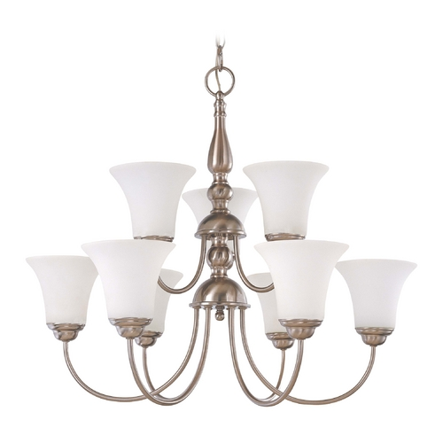 Nuvo Lighting Chandelier with White Glass in Brushed Nickel Finish 60/1823