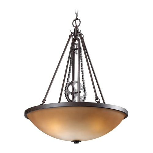 Elk Lighting Elk Lighting Cog and Chain Vintage Rust LED Pendant Light with Bowl / Dome Shade 66265-3-LED