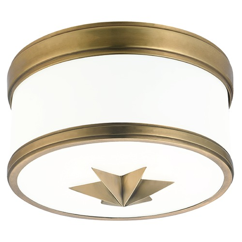 Hudson Valley Lighting Seneca 1 Light Flushmount Light Drum Shade - Aged Brass 1109-AGB