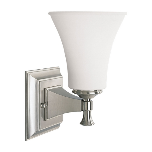 Progress Lighting Progress Sconce Wall Light with White Glass in Brushed Nickel Finish P3131-09