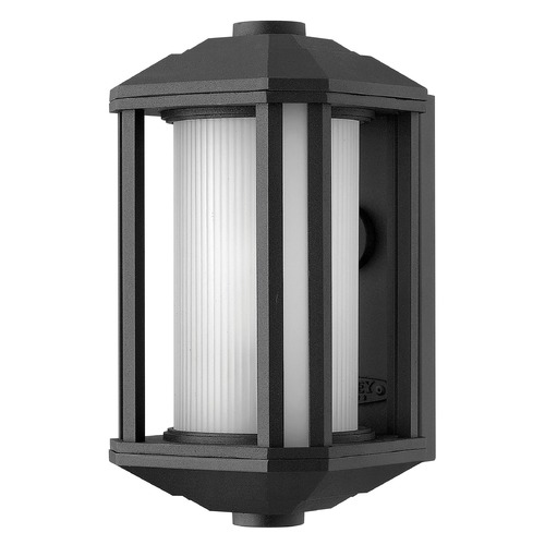 Hinkley Lighting Outdoor Wall Light with White Glass in Black Finish 1396BK