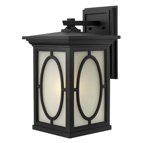Hinkley Lighting LED Outdoor Wall Light with Etched Glass in Black Finish 1495BK-LED