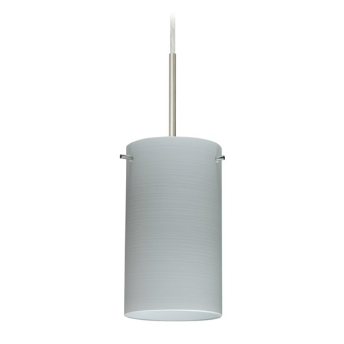 Besa Lighting Besa Lighting Stilo Satin Nickel LED Mini-Pendant Light with Cylindrical Shade 1BT-4404KR-LED-SN