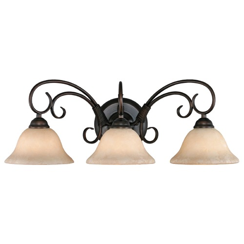 Golden Lighting Golden Lighting Homestead Rubbed Bronze Bathroom Light 8606-BA3 RBZ-TEA