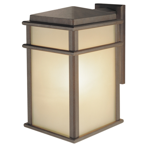 Feiss Lighting Outdoor Wall Light with Amber Glass in Corinthian Bronze Finish OL3402CB