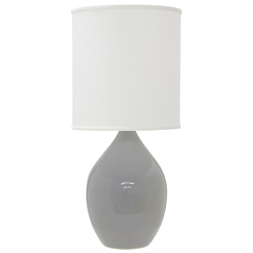 House of Troy Lighting House of Troy Scatchard Gray Gloss Table Lamp with Cylindrical Shade GS201-GG