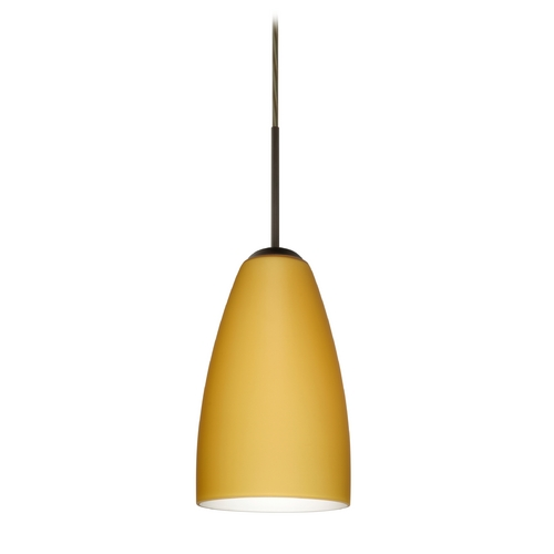 Besa Lighting Modern Pendant Light with Beige / Cream Glass in Bronze Finish 1JT-1511VM-BR