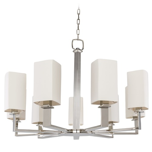 Hudson Valley Lighting Modern Chandelier with White Shades in Polished Nickel Finish 729-PN