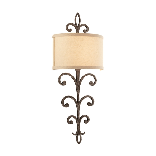 Troy Lighting Sconce Wall Light with White Shade in Cottage Bronze Finish B3172