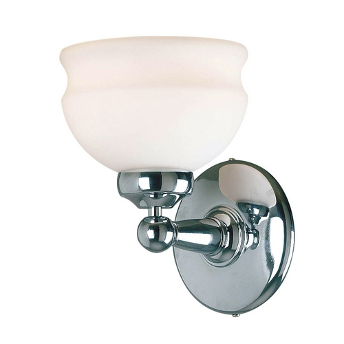Kenroy Home Lighting Sconce Wall Light with White Glass in Polished Nickel Finish 90521PN