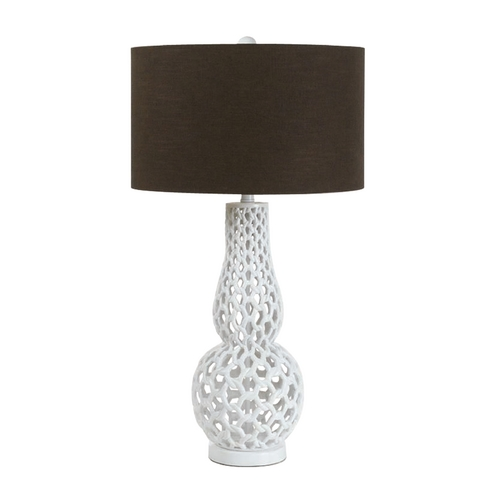 AF Lighting Table Lamp with Brown Shade in Snow White Finish 8278-TL