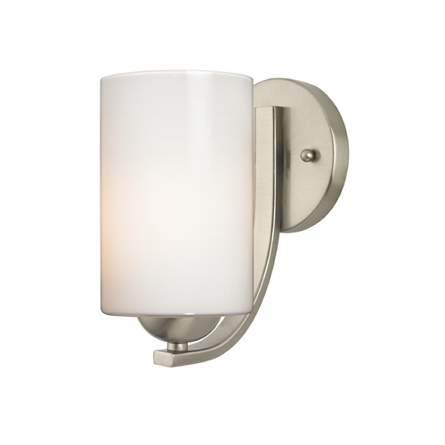 Design Classics Lighting Satin Nickel Wall Sconce with Opal White Cylinder Glass Shade 585-09 GL1024C